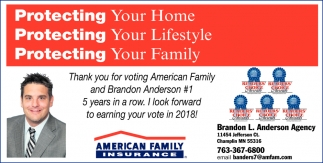 Thank You fof Voting American Family and Brandon Anderson #1