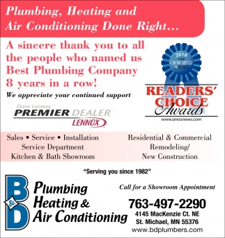 A Sincere Thank You to All the People who Named Us Best Plumbing Company 8 Years in a Row!