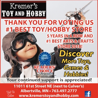 Thank You for Voting Us #1 Best Toy/Hobby Store