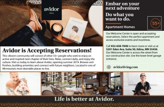 Avidor is Accepting Reservations!