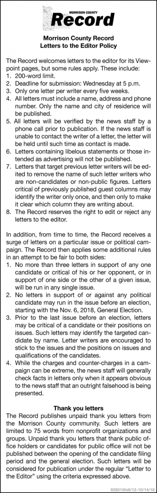 Morrison County Record Letters to the Editor Policy