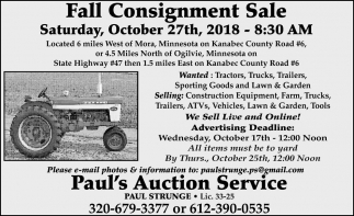 Fall Consignment Sale