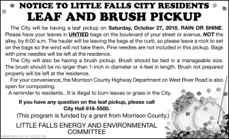 Notice to Little Falls City REsidents Leaf and Brush Pickup