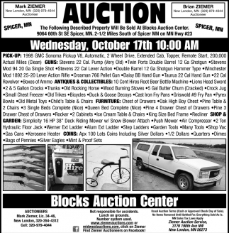 Auction Wednesday, October 17th