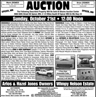 Auction Sunday October 21th