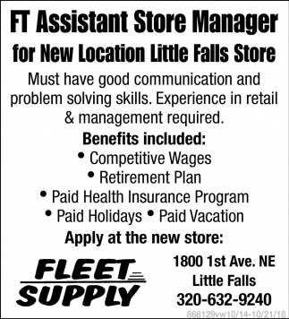 FT Assistant Store Manager for New Location Little Falls Store