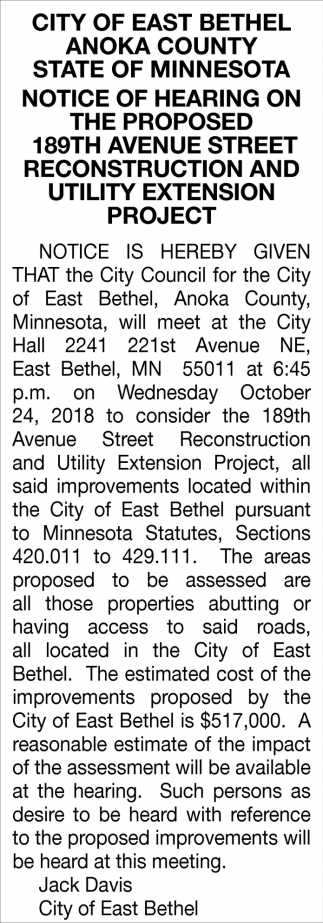 Notice of Hearing on the Proposed 189th Avenue Street Reconstruction and Utility Extension Project