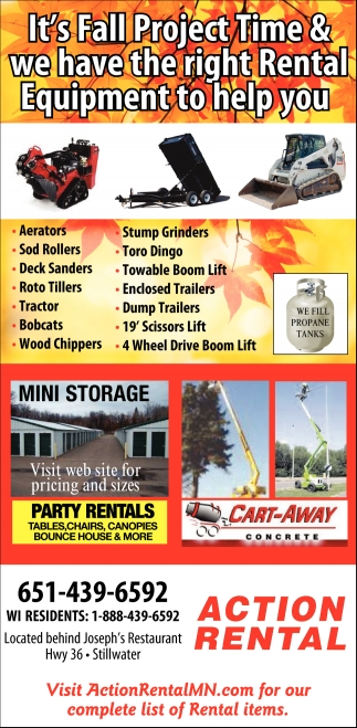 It's Fall Project Time & We Have the Right Rental Equipment to Help You