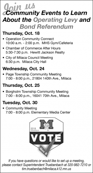 Join us Community Events to Learn About the Operating Levy and Bond Referendum