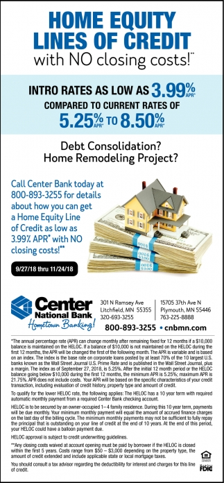 Home Equity Lines of Credit with No Closing Costs!