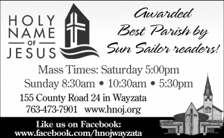 Awarded Best Parish by Sun Sailor Readers!, Holy Name Of