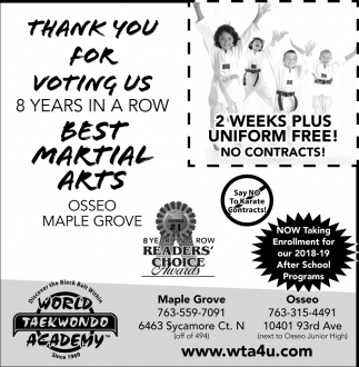 Thank You for Voting Us Best Martial Arts