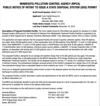 Public Notice of Intent to Issue a State Disposal System (SDS) Permit