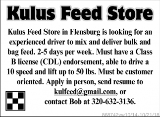 Kulus Feed Store in Flensburg is Looking for an Experienced Driver