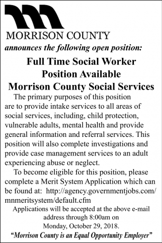 Full Time Social Worker Position Available