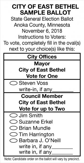 City of East Bethel Sample Ballot