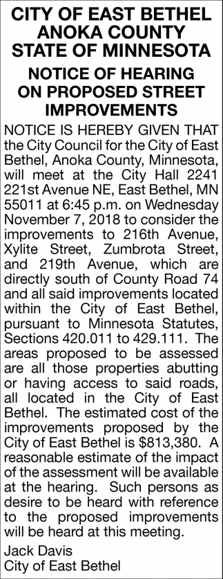 Notice of Hearing on Proposed Street Improvements