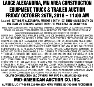 Large Alexandria, MN Area Construction Equipment, Truck & Trailer Auction