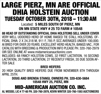 Large Pierz, MN are Official DHIA Holstein Auction
