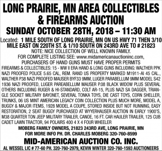 Long Prairie, MN Area Collectibles & Firearms Auction