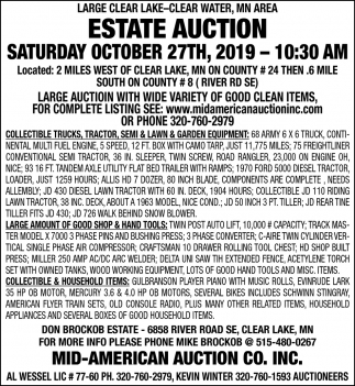 Clear Water, MN Area Estate Auction