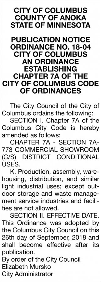Publication Notice Ordinance No. 18-04
