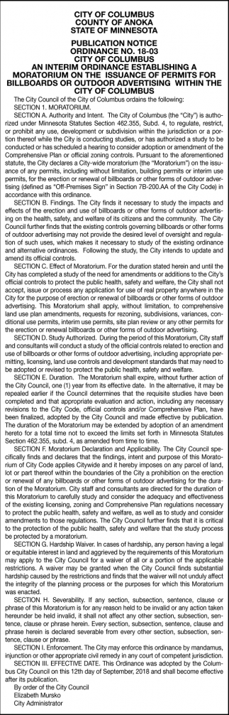 Publication Notice Ordinance No. 18-03