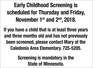 Early Childhood Screening is Scheduled for Thursday and Friday, November 1st and 2nd, 2018