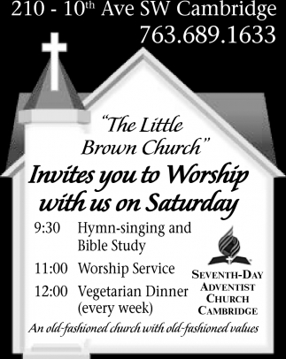 Invites You To Worship With Us On Saturday