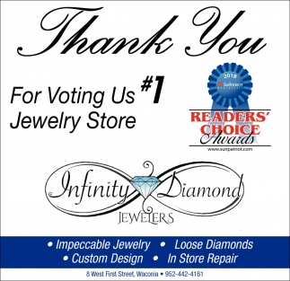 Thank You for Voting us #1 Jewelry Store