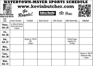 Watertown-Mayer Sports Schedule