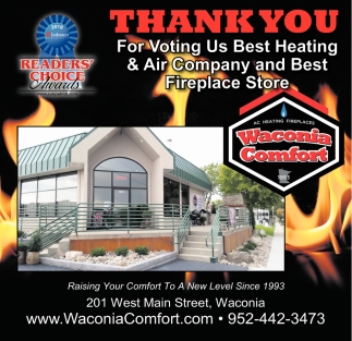 Thank You for Voting us best Heating & Air Company and Best Fireplace Store
