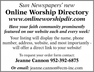 Sun Newspapers' New Online Worship Directory