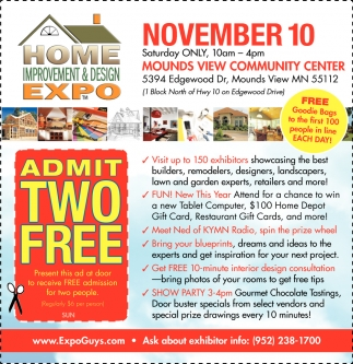 Admit Two Free Home Improvement Design Expo Maple Grove Mn