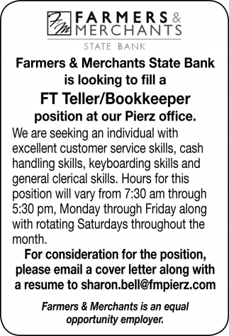 FT Teller/Bookkeeper Position at Our Pierz Office