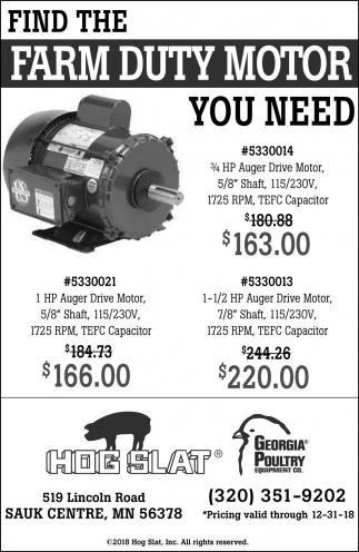 Find the Farm Duty Motor You Need, Hog Slat, Sauk Centre, MN