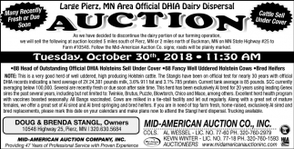 Official DHIA Dairy Dispersal Auction