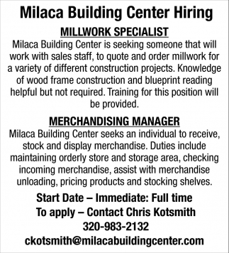 Milaca Building Center Hiring