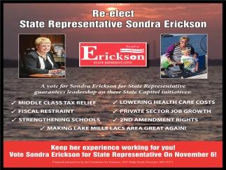 Re-Elect State Representative Sondra Erickson