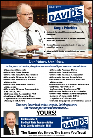 Re-Elect Greg Davids State Representative