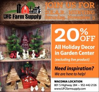 20% OFF All Holiday Decor in Garden Center