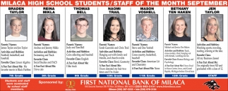 Milaca High School Students/Staff of the Month September