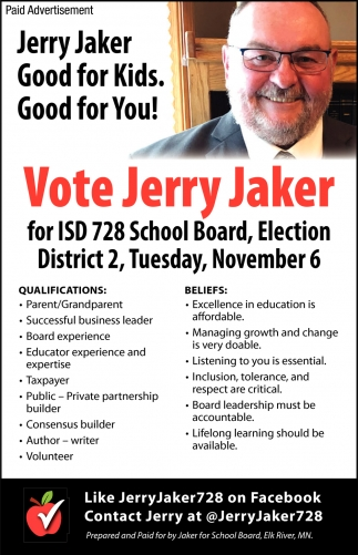 Vote Jerry Jaker for ISD 728 School Board, Election District 2