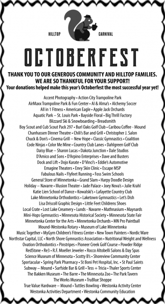 Thank You to Our Generous Community and Hilltop Families