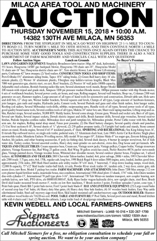 Milaca Area Tool & Machinery Auction