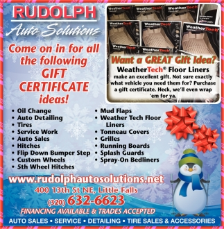 Come on in for All the Following Gift Certificate Ideas!