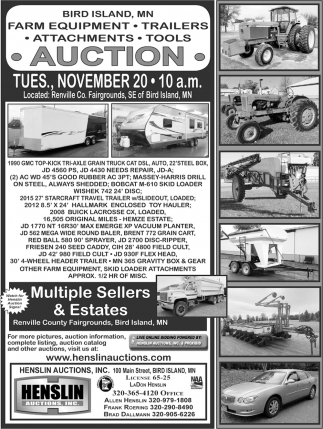 Farm Equipment, Trailers, Attachments & Tools Auction