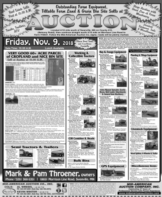 Outstanding Farm Equipment, Tillable Farm Land & Grain Bin Site Sells at Auction