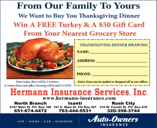 Win a FREE Turkey & A $50 Gift Card from Your Nearest Grocery Store