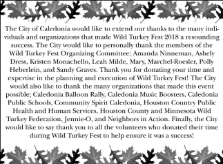 Thanks to the Many Individuals and Organizations that Made Wild Turkey Fest 2018 a Resounding Success